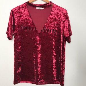 LUSH 'Femme liberte' Crushed Velvet Choker Shirt